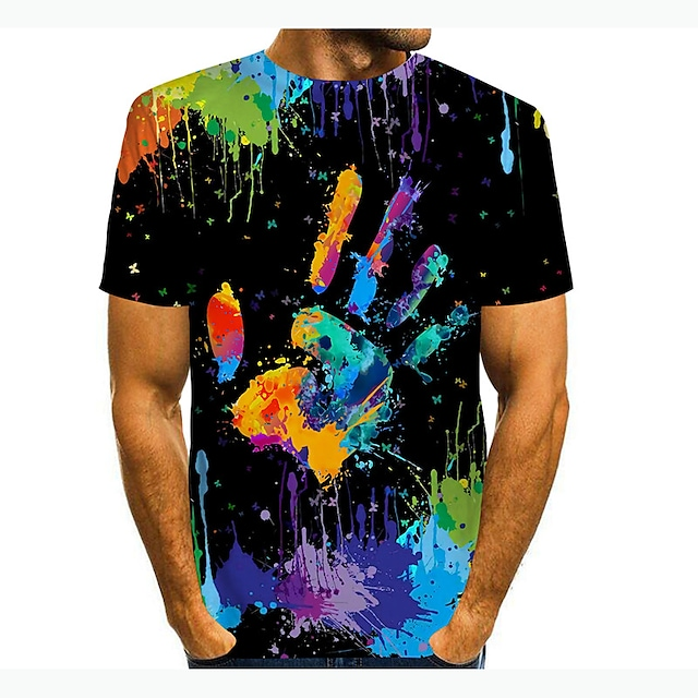 Men's T shirt 3D Print 3D Graffiti 3D Print Short Sleeve Daily Tops Casual Fashion Black
