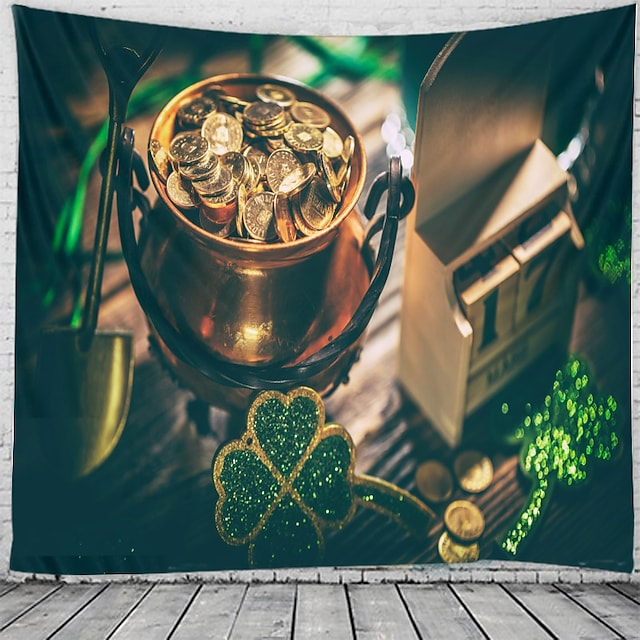 Happy St. Patrick's Day Wall Tapestry Art Decor Blanket Curtain Hanging Home Bedroom Living Room Decoration