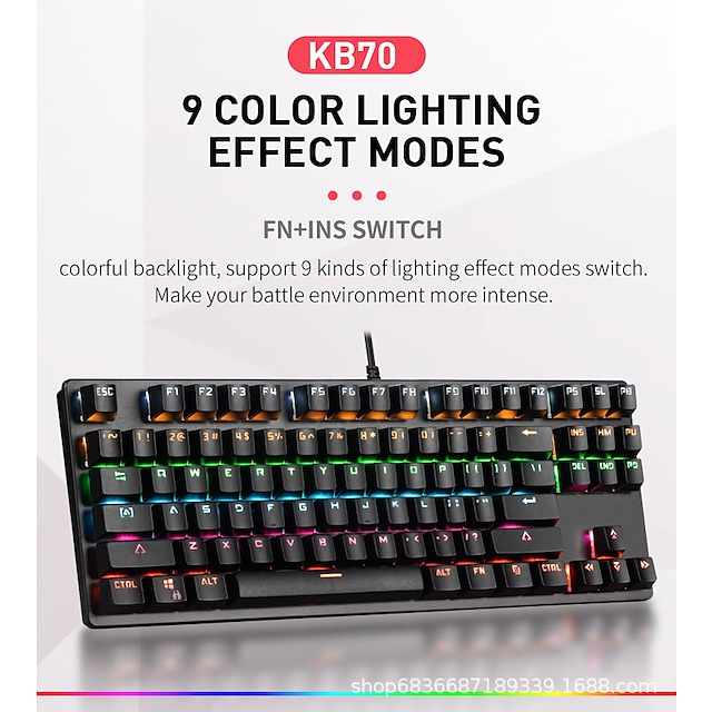 LITBest K870 USB Wired Mechanical Keyboard Gaming Keyboard Gaming Waterproof Multicolor Backlit 87 pcs Keys