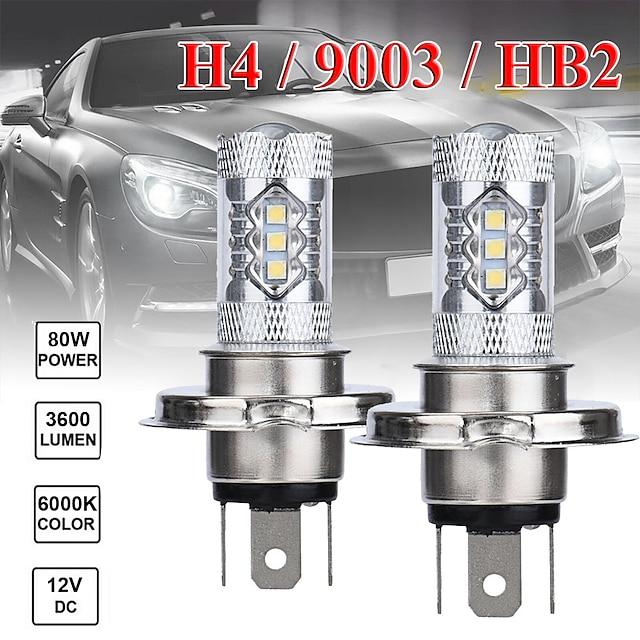 2 pcs 80w h4 16smd 6500k 7000k white light led bulb for car headlamp fog light dc12 24v