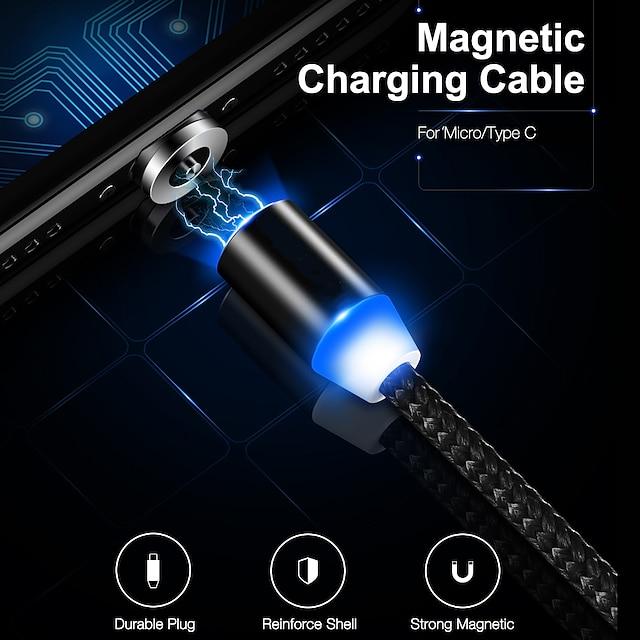 micro USB USB C Cabo Magnética Transmissão de dados Carregador de telefone 2 A TPE Para Xiaomi MI Samsung Huawei Acessório para Celular