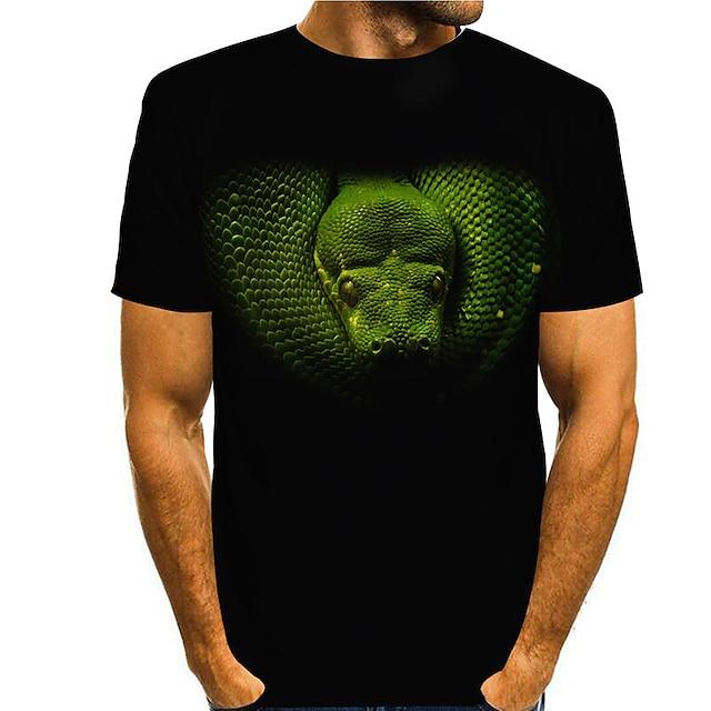 Miesten T-paita 3D-tulostus Käärmeennahka Graafiset tulosteet 3D Painettu Lyhythihainen Päivittäin Topit Vapaa-aika Muoti Musta