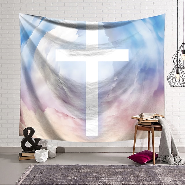 Wall Tapestry Art Decor Blanket Curtain Hanging Home Bedroom Living Room Decoration Polyester Cross Badge White Color Background