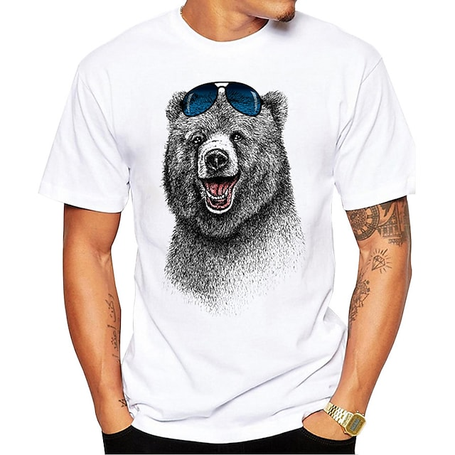 Men's Unisex T shirt Hot Stamping Bear Animal Plus Size Print Short Sleeve Daily Tops 100% Cotton Basic Casual White