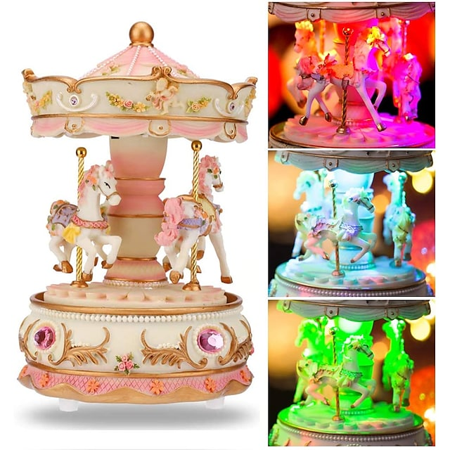 Music Box Carousel Music Box Classic Unique Resin Women's Unisex Girls' Kids Kid's Adults Adults' Graduation Gifts Toy Gift