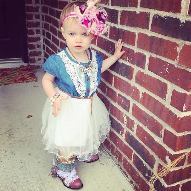 Дети Маленький Девочки Платье Контрастных цветов Многослойный Розовый Белый До колена С короткими рукавами Активный Платья Лето Стандартный 2-6 года