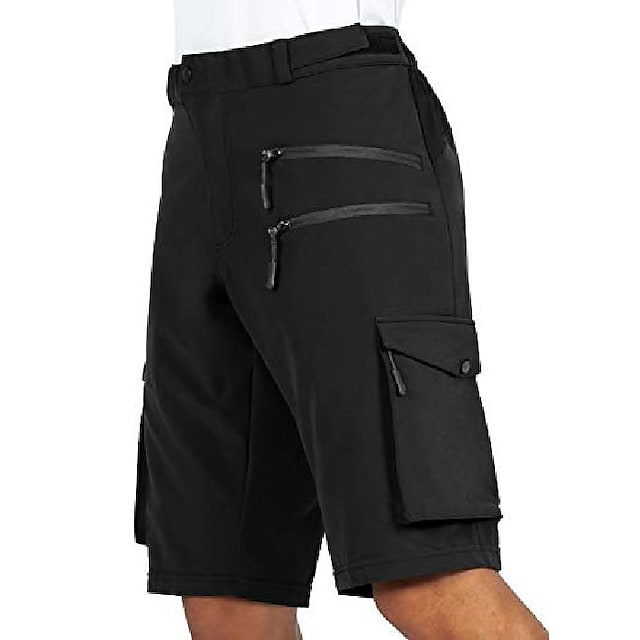 גוקסרי גברים-אופני הרים-מכנסיים קצרים רכיבה על אופניים רכיבה על אופניים עם 5 כיסי רוכסן מכנסי אופניים לגברים (שחור, ז ')