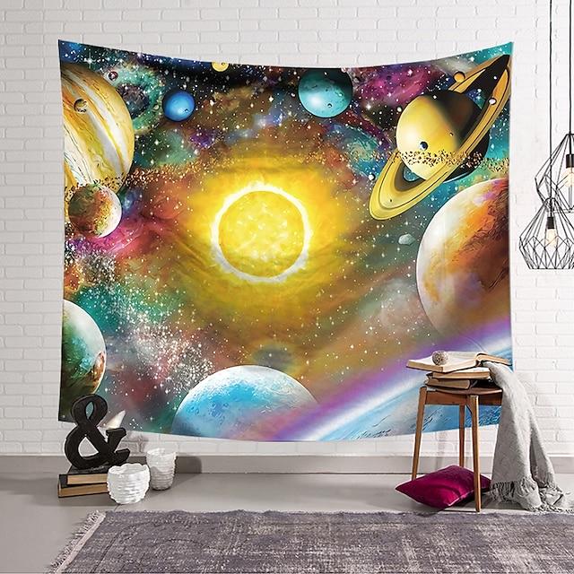 veggteppe kunst dekor teppe gardin hengende hjem soverom stue polyester fargerik planet