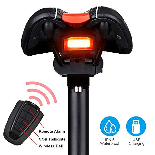 bike tail light rechargeable, anti-theft alarm, warning electric horn, bike finder/tracker with remote, ipx6 waterproof electric mountain bike accessories