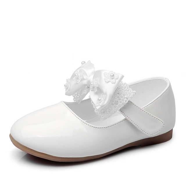 Girls' Flats Mary Jane Princess Shoes PU Mary Jane Little Kids(4-7ys) Daily Walking Shoes Bowknot Beading White Black Red Spring Summer