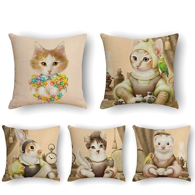 μαξιλαροθήκη 5τμχ μαλακό διακοσμητικό τετράγωνο ριχτό μαξιλάρι κάλυμμα μαξιλαροθήκη μαξιλαροθήκη για καναπέ υπνοδωμάτιο 45 x 45 cm (18 x 18 ίντσες) ανώτερης ποιότητας γάτα που πλένεται