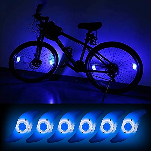 6pcs bicycle hot wheel spoke lights, blue flashing led neon lights bike cycling tire spoke safety warning lights waterproof