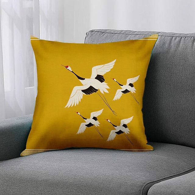 Double Side 1 Pc Bird Cushion Cover  Print 45x45cm Linen for Sofa Bedroom
