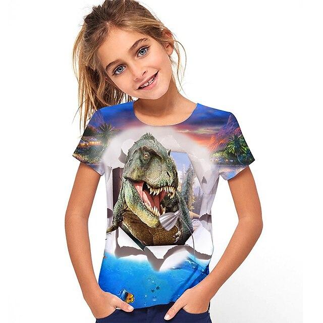 Kids Girls' T shirt Short Sleeve Dinosaur Animal Print Blue Children Tops Summer Active Daily Wear Regular Fit 4-12 Years