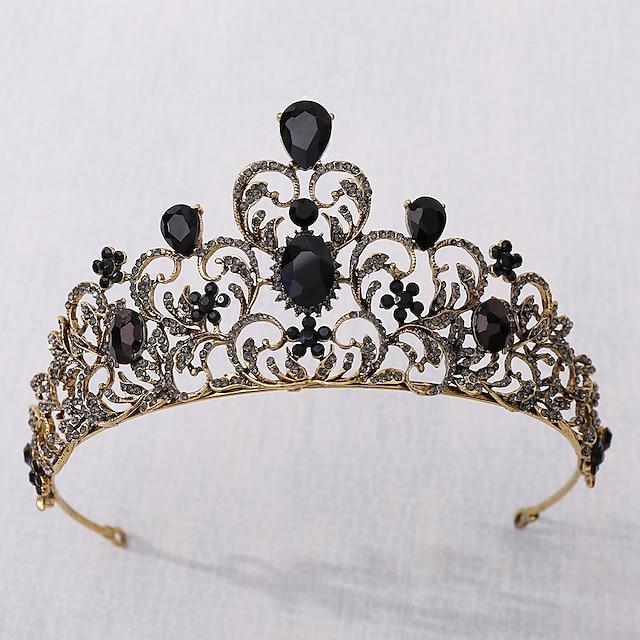 Retro Sweet Rhinestone / Alloy Crown Tiaras / Headbands with Crystal / Rhinestone / Split Joint / Trim 1 PC Wedding / Party / Evening Headpiece