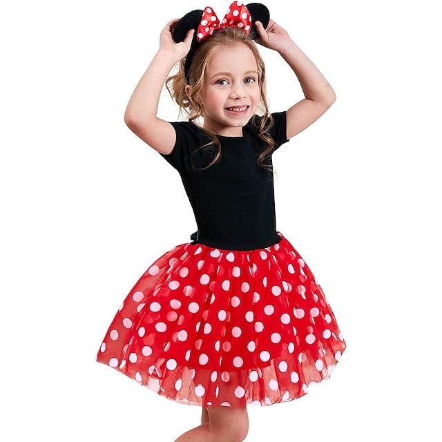 Bambino (1-4 anni) Piccolo Da ragazza Vestito A pois Abito con tutù Per eventi Compleanno Multistrato Rosso Fucsia Manica corta Cosplay Casuale Costumi Vestitini Estate Taglia piccola
