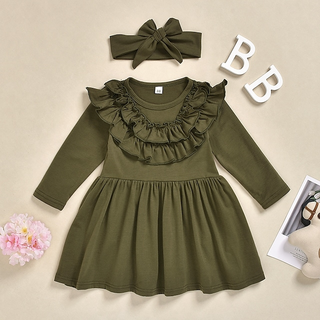 Kids Little Girls' Dress Solid Colored Print Army Green Knee-length Long Sleeve Active Dresses Summer Regular Fit 2-6 Years