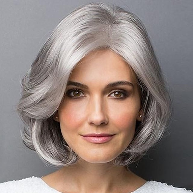Synthetic Wig Curly Asymmetrical Wig Short Silver grey Synthetic Hair Women's Party Fashion Comfy Silver Gray