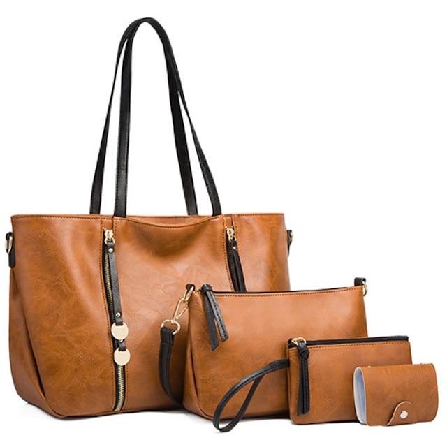 Women's Bags PU Leather Bag Set 4 Pieces Purse Set Zipper Solid Color Daily Going out Bag Sets 2021 Handbags White Black Brown