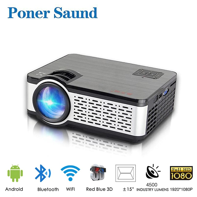 Poner Saund W5 Wifi Projector Mini Portable Projector Smart Home 1080p Full Hd Projector Android Built-in Bluetooth For Smartphone