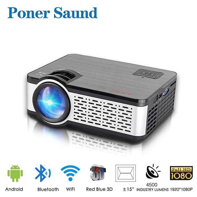 WiFi projektor Poner Saund W5 Mini přenosný projektor Inteligentní domácí 1080p Full HD projektor Android Vestavěný Bluetooth pro smartphone