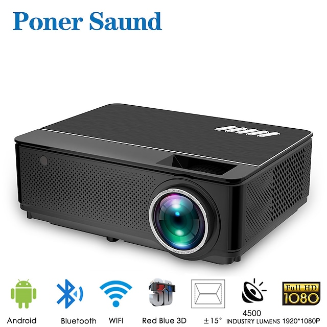 Poner Saund M6 Wifi Projector Android 4k Full Hd LED Projector for Smartphone Mini Portable Projector Bluetooth for Movie Smart Home