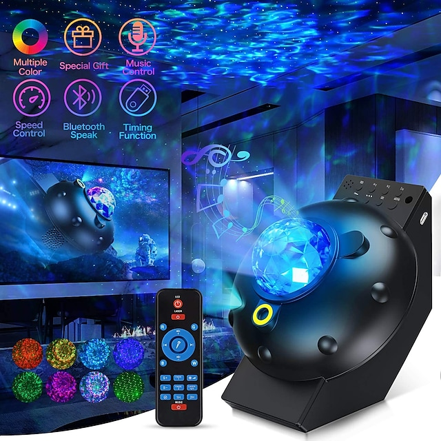 Galaxy Star Projector Sky Light Lite Starry Night Projector Nebula Room Decor, Space Projector for Bedroom Cloud Cove Ocean Wave Light, Time Ceiling Light 360 Pro Projector for Kids Bluetooth Speaker