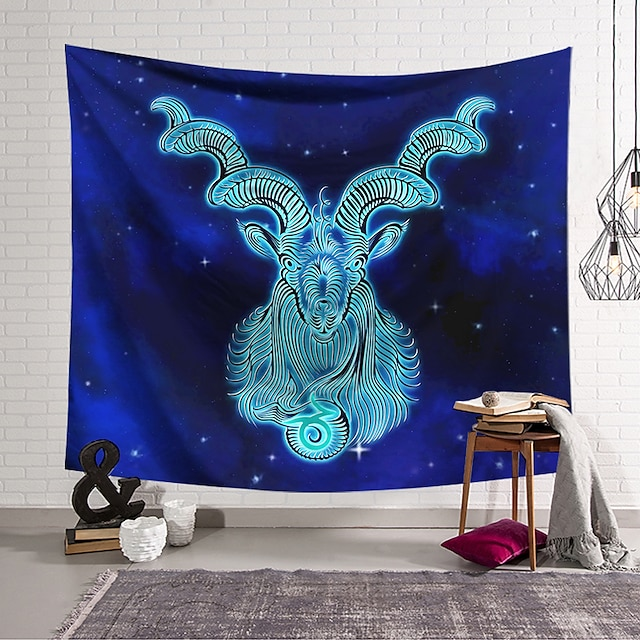 Wall Tapestry Art Decor Blanket Curtain Hanging Home Bedroom Living Room Color blue Polyester Sheep