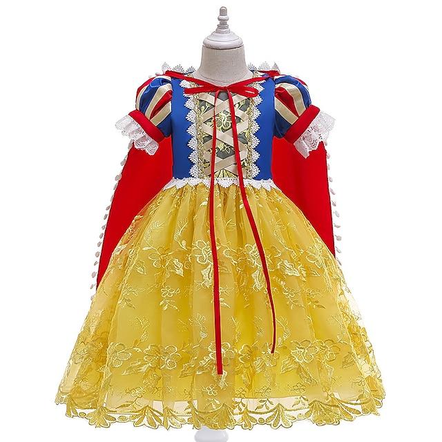 Kids Little Girls' Dress Color Block Lace Yellow Midi Short Sleeve Princess Cute Dresses Regular Fit