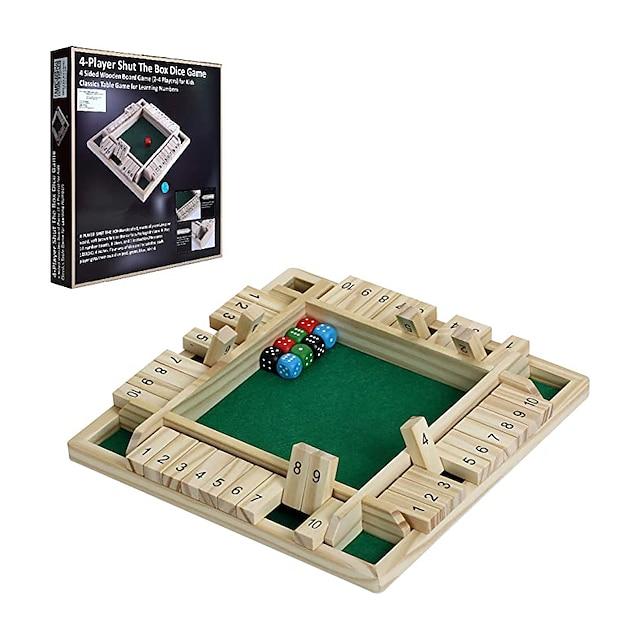 4 játékos bezárta a dobókockajátékot, 4 oldalas, nagy fatábla, klasszikus asztali családi játék gyerekeknek, matematika mellett felnőtteknek, szórakoztató játék egyszerre játszható kocsmában,