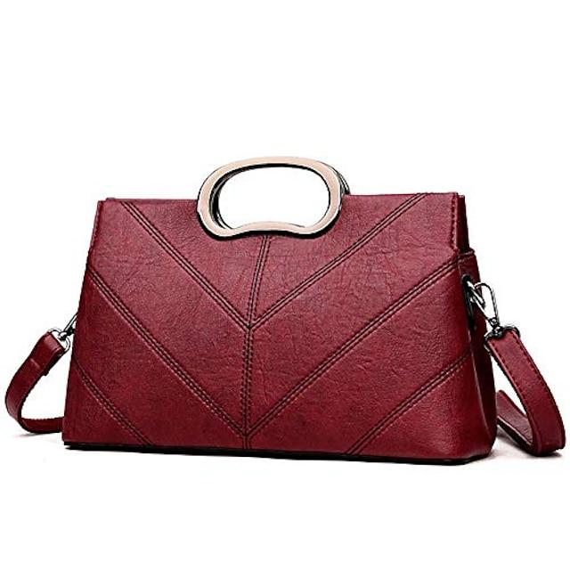 vegan leather women evening bag - ladies fashion clutch (wine red)