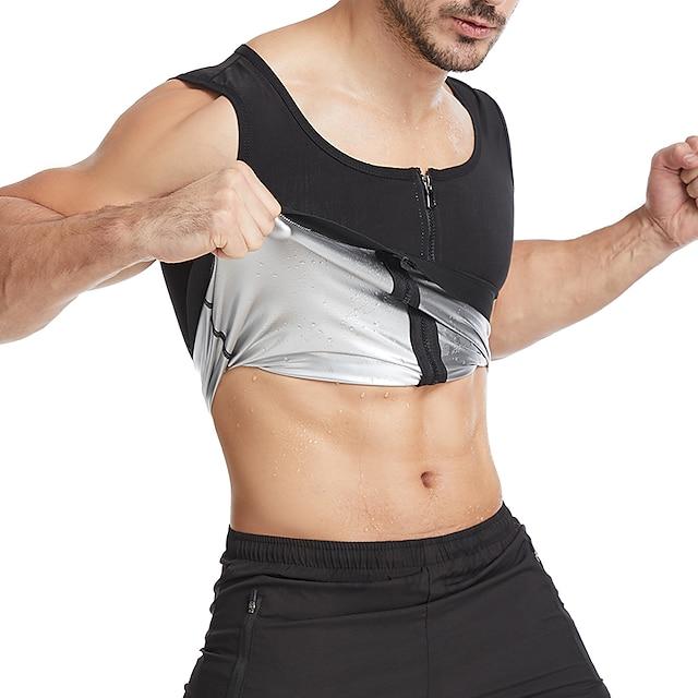 Hot Sweat Workout Tank Top Slimming Vest Sauna Suit Sports Neoprene Yoga Fitness Gym Workout Stretchy Tummy Fat Burner Hot Sweat Calories Burned For Men