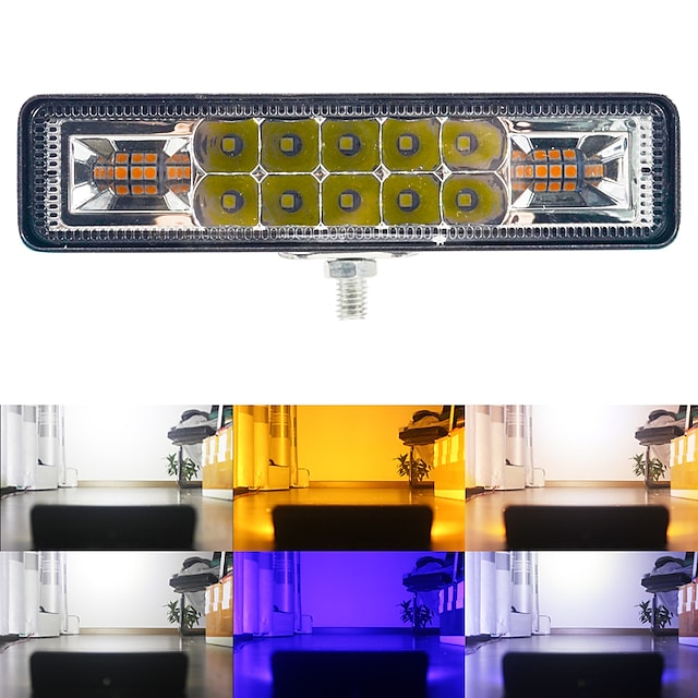 1pc 48W LED Work Light bar Strobe Flash 3030 16LEDS Work Light for Offroad 4x4 ATV SUV Motorcycle Trailer Car Accessories 12-30V