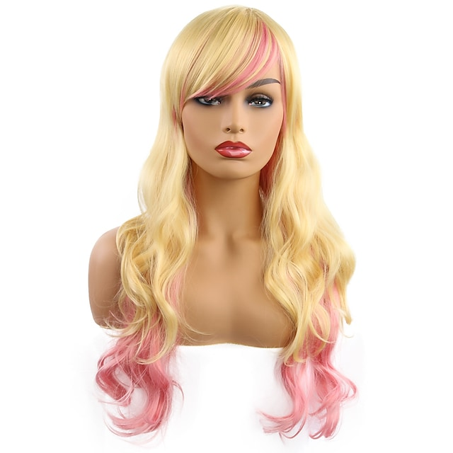 Synthetic Wig Curly Side Part Wig Medium Length Gold Pink Synthetic Hair Women's Cosplay Party Fashion Blonde Pink