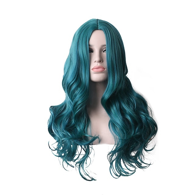 Synthetic Wig Deep Wave Asymmetrical Middle Part Wig 28 inch Azure Synthetic Hair Women's Cosplay Party Fashion Blue