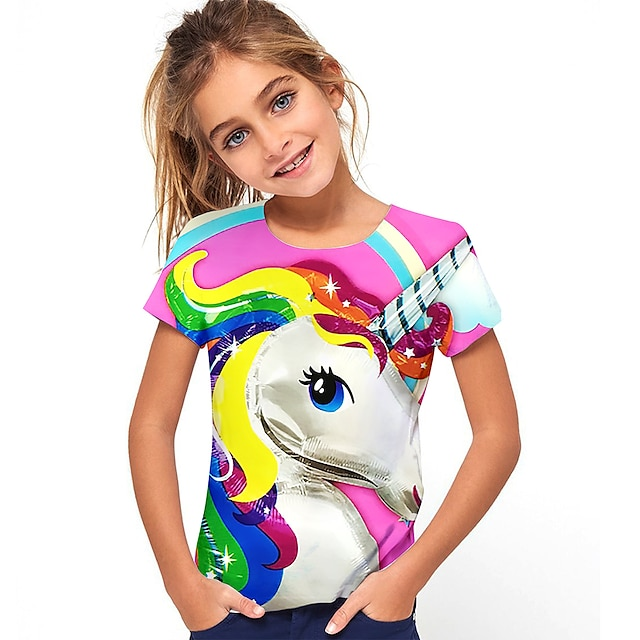 Kids Girls' T shirt Tee Short Sleeve Horse Graphic 3D Animal Print Rainbow Children Tops Active