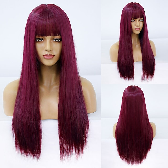 Synthetic Wig Natural Straight Neat Bang Wig Medium Length A10 A11 A1 A2 A3 Synthetic Hair Women's Cosplay Party Fashion Burgundy