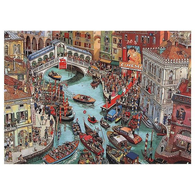 puslespill 1000 stykker for voksne overfylte kanaler i Venezia pedagogisk morsomt spill intellektuelt dekomprimering interessant puslespill
