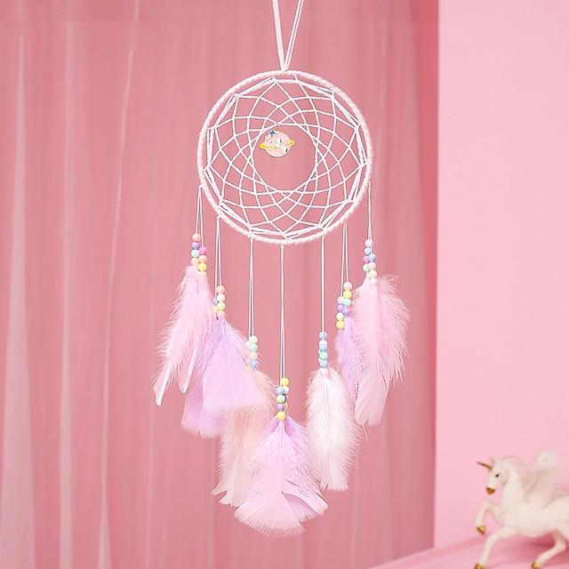 rosa drømmefanger håndlaget sirkeldesign drømmefanger fjærhengende hjemmedekorasjon ornament festivalgave