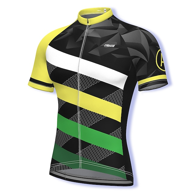 21Grams Men's Short Sleeve Cycling Jersey Summer Spandex Polyester Green Stripes Bike Jersey Top Mountain Bike MTB Road Bike Cycling Quick Dry Moisture Wicking Breathable Sports Clothing Apparel