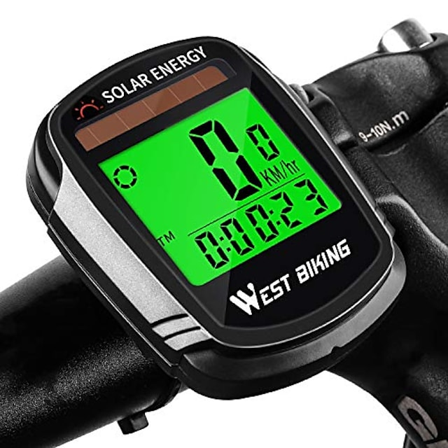 bike computer with solar energy bicycle speedometer and odometer wireless waterproof cycling computer lcd backlight automatic wake-up & multi-functions