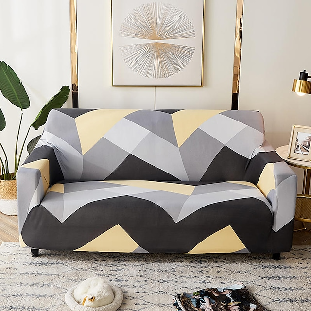 Sofa Cover Couch Cover Dustproof Print Soft Stretch Sofa Slipcover Super Strechable Cover Fit for Armchair/Loveseat/Three Seater/Four Seater/L shaped sofa One Free Pillow Case