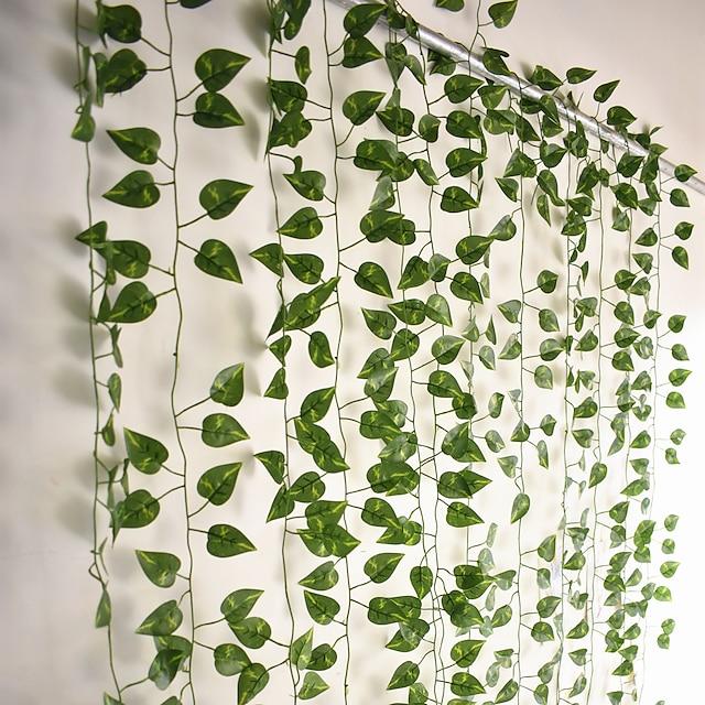 12pcs 220cm künstliche Pflanzen Rebe Wanddekoration Hochzeitsfeier dekorative künstliche Blätter Grün künstliche hängende Pflanzen für Hochzeitswanddekoration, Partyraumdekoration