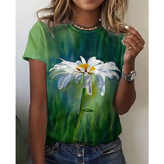 نسائي موضوع الأزهار لوحات تي شيرت ورد الرسم طباعة رقبة دائرية أساسي قمم أخضر