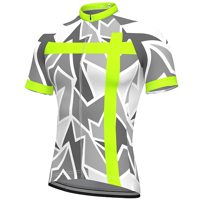 21Grams Men's Short Sleeve Cycling Jersey Summer Spandex Polyester Grey Bike Jersey Top Mountain Bike MTB Road Bike Cycling Quick Dry Moisture Wicking Breathable Sports Clothing Apparel / Athleisure