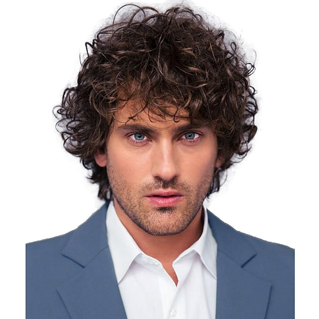 Synthetic Wig Curly Short Bob Wig Short Black / Brown Synthetic Hair 28 inch Men's Party Fashion Comfy Black Brown