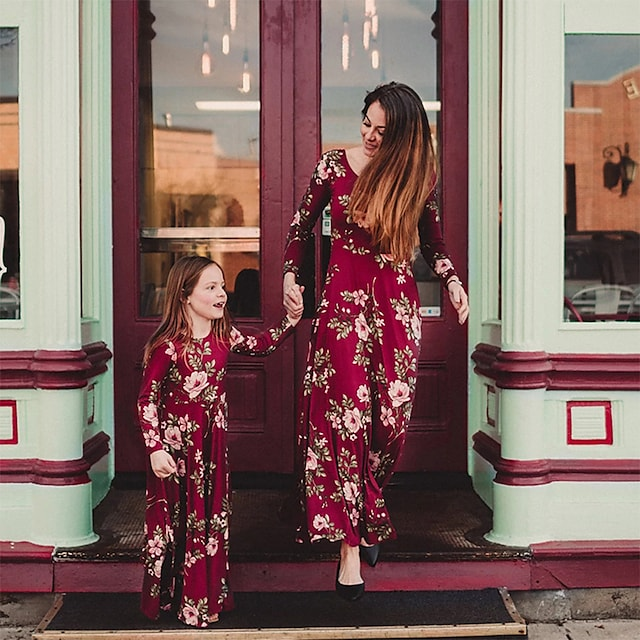 Dresses Mommy and Me Floral Daily Print Red Long Sleeve Maxi Daily Matching Outfits
