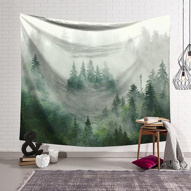 natuurlijke landschap wandtapijten art decor deken gordijn opknoping thuis slaapkamer woonkamer decoratie polyester groen bos mist
