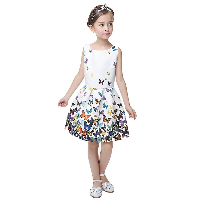 Kids Little Girls' Dress Causal Floral Princess Party Butterfly Print White Sleeveless Sweet Summer Dresses Fit 5-12 Years