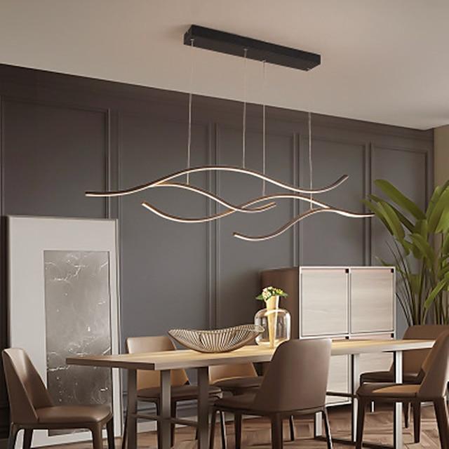 100/120 cm led hänglampa våg design svart guld ljuskrona metall konstnärlig stil modern stil snygg målade ytor konstnärlig led 110-120v 220-240v